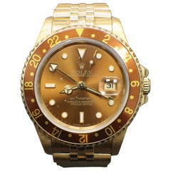 Rare Rolex GMT Master II 16718 18 Karat Gold Root Beer Box and Papers, 1991