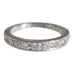 Vintage 18 Karat White Gold Diamond Half Eternity Ring Band