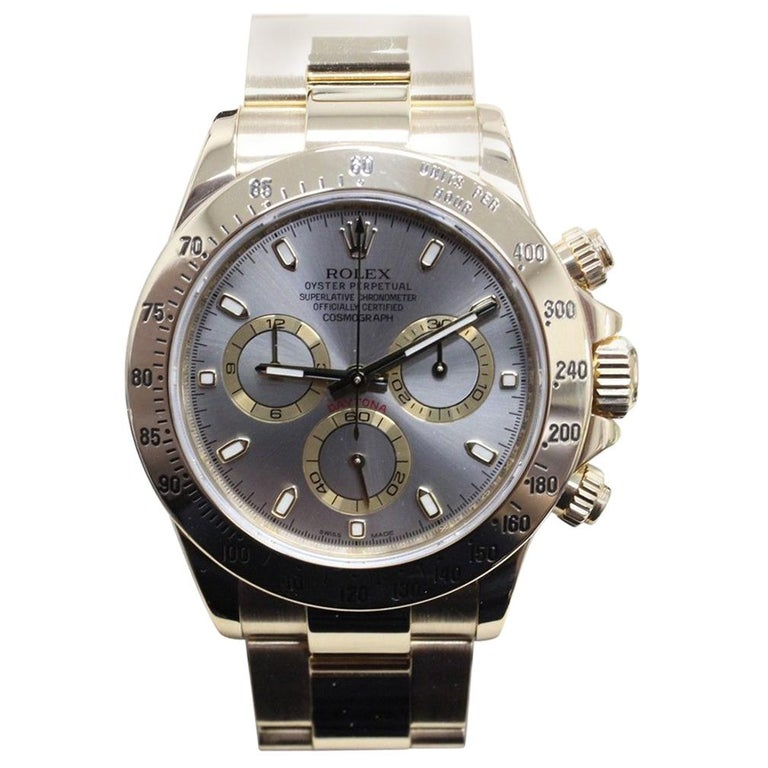 Rolex 116528 Daytona Cosmograph 18 Karat Gold Steel Dial Box and Papers, 2014