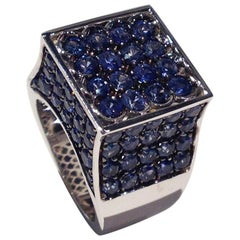 Paolo Piovan Blue Sapphires White Gold Cocktail Ring