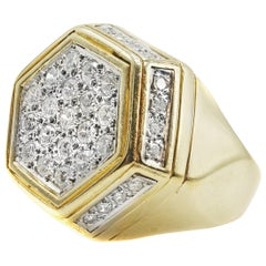Diamond 18 Karat Yellow Gold Hexagonal Ring