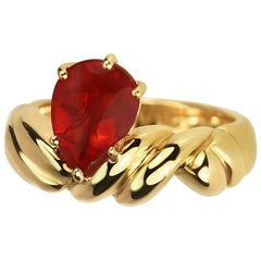 Fire Opal Paisley Teardrop Shape in 18 Carat Yellow Gold Carved Woven Band
