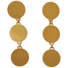 18 Karat Solid Gold Sequin Drop Dangle Earrings in a Satin Patina Finish