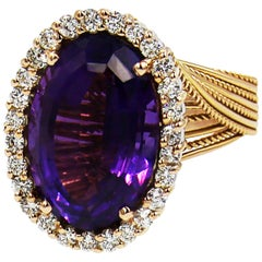 Amethyst Diamond White/Rose 18 Karat Gold Ring