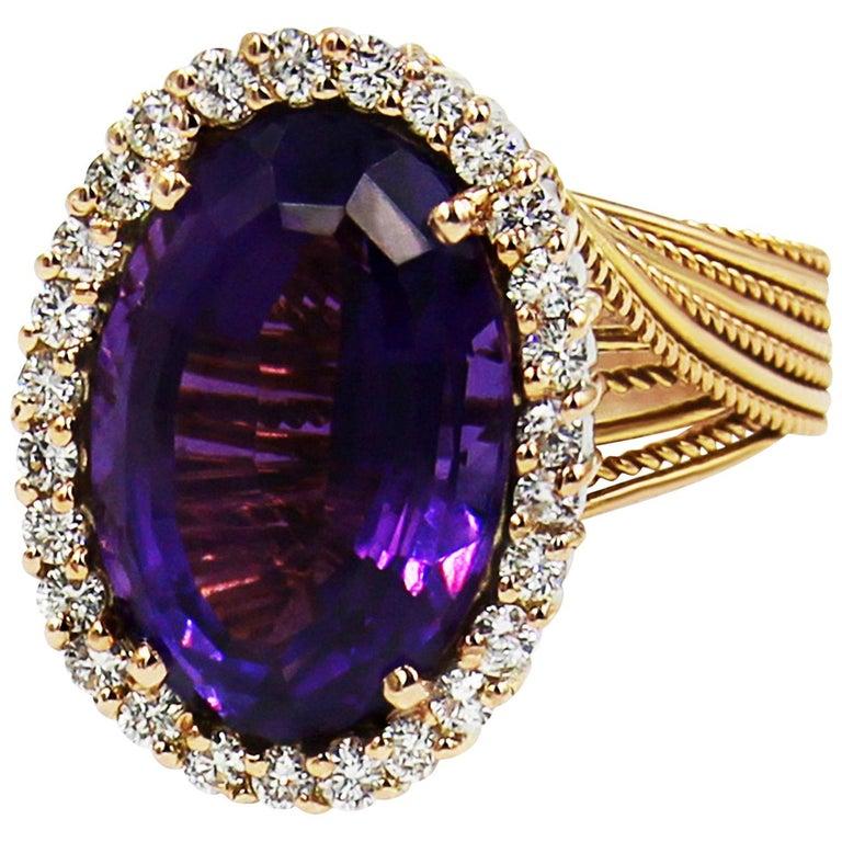 Amethyst Diamond White/Rose 18 Karat Gold Ring