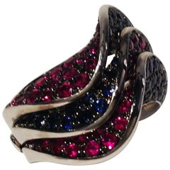 Paolo Piovan Rubies Blue Sapphires White Gold Ring