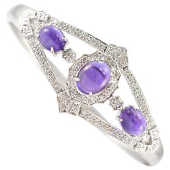 Pure Platinum Genuine Cabochon Amethyst and Natural Diamond Bracelet 37.9g