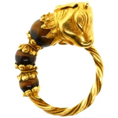 Lalaounis 22 Karat Yellow Gold Tiger Eye Emerald Bull Head Ring