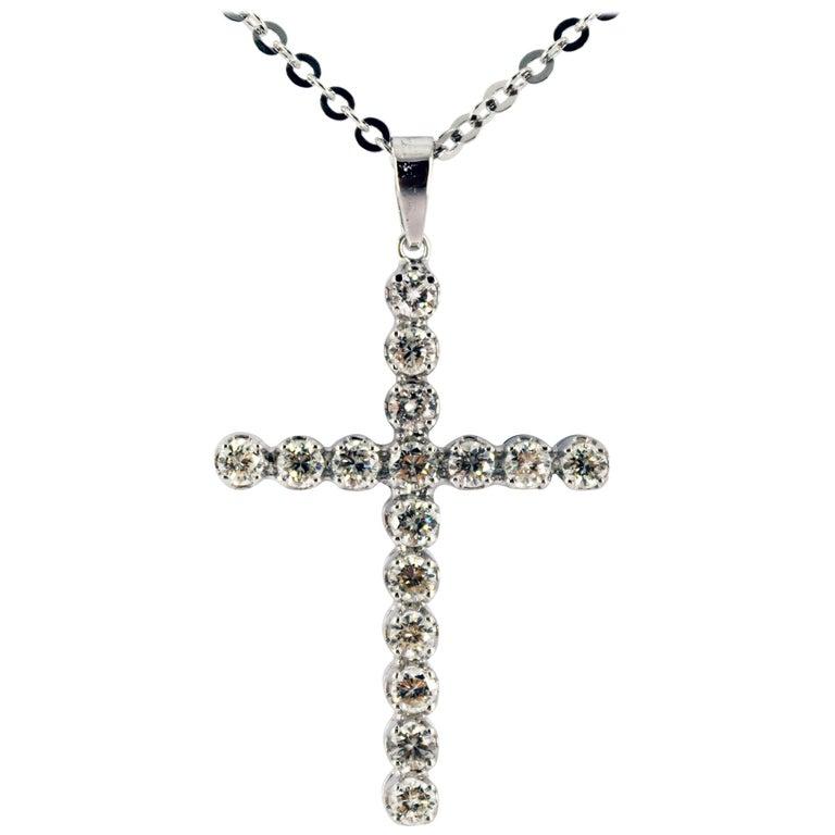 "Art Deco 1.12 Carat White Diamond ""Cross"" Pendant White Gold Necklace"