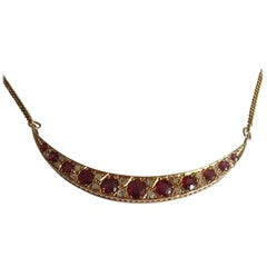 Victorian Ruby Diamond Crescent Gold Necklace
