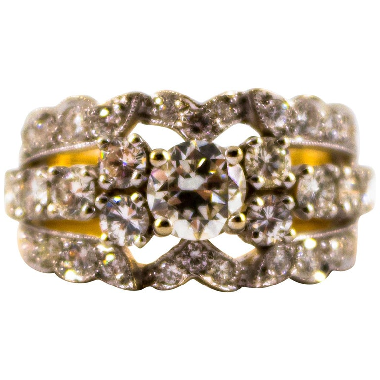 Renaissance Style 2.00 Carat White Diamond Yellow Gold Band Ring For Sale