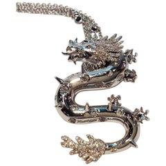 Paolo Piovan Black Diamonds Natural White Diamonds White Gold Dragon Pendant