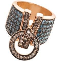 Dada Arrigoni Blue and Brown Diamond Zip Ring in Rose Gold