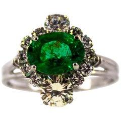 Art Deco 1.68 Carat Emerald 1.25 Carat White Diamond White Cocktail Ring