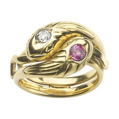 French, Art Nouveau Ruby and Diamond Snake Ring, by Maurice Beck