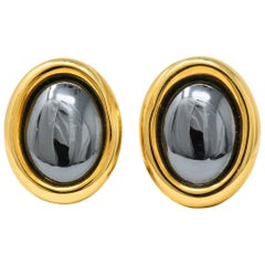 Angela Cummings Tiffany & Co. Hematite 18 Karat Gold Ear-Clips Earrings