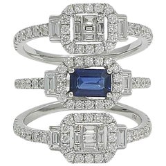 Triple Band Emerald Cut Sapphire and Diamond White Gold Ring
