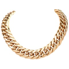 1980s Heavy Jumbo Curb Link 18 Karat Gold Chain Necklace
