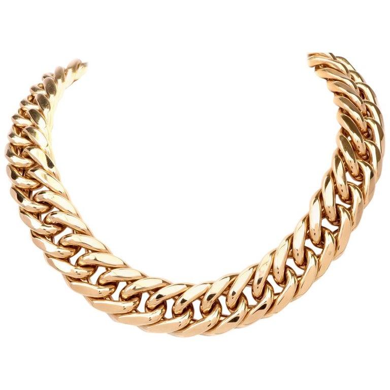 1980s Heavy Jumbo Curb Link 18 Karat Gold Chain Necklace