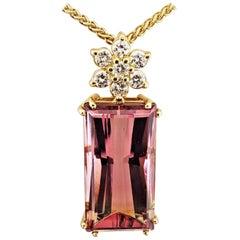 18 Karat Gold, Bi-Color Tourmaline '22.46 Carat' Diamond '0.59 Carat' Pendant