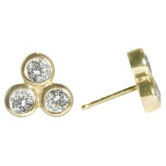 Emily Kuvin Gold and Diamond Stud Earrings