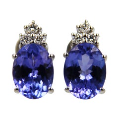 Tanzanite Diamond 18 Karat White Gold Earrings