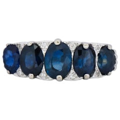 Edwardian 3.05 Carat Sapphire Diamond 14 Karat White Gold Anniversary Ring
