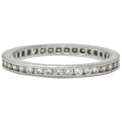 Vintage 0.40 Carat Diamond Platinum Eternity Band Stackable Ring