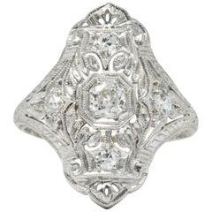 1930s 0.35 Carat Diamond Platinum Art Deco Dinner Ring
