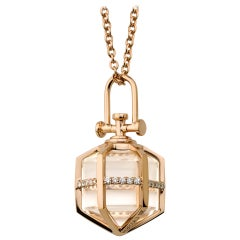 Contemporary Geometrical 18k Gold Diamond and Natural Crystal Talisman Necklace