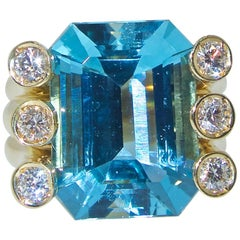 Verdura Aquamarine and Diamond Ring