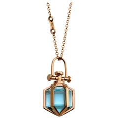 Contemporary Geometrical 18 Karat Rose Gold Blue Topaz Talisman Amulet Necklace