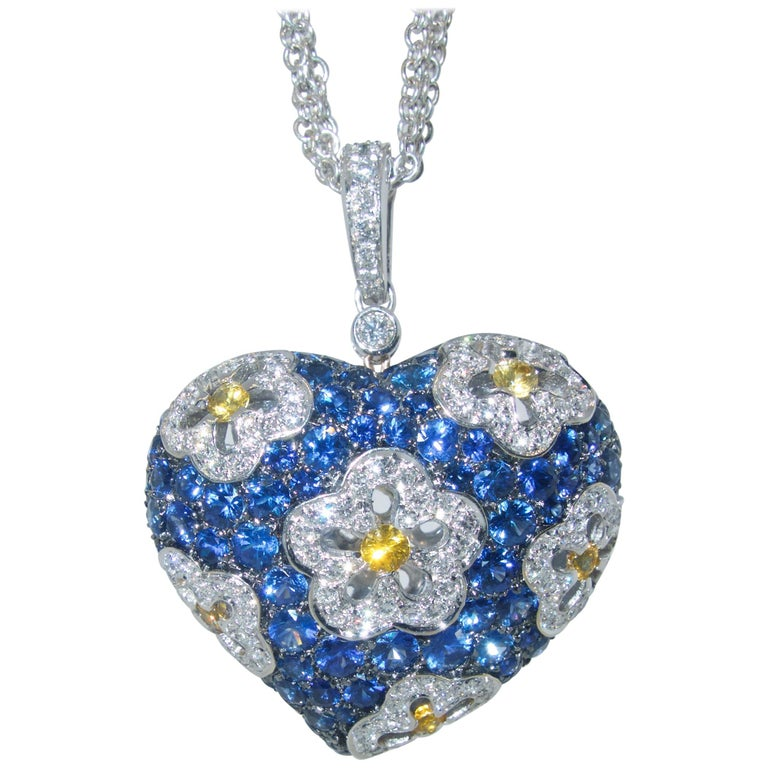 Sapphire and Diamond Large Heart Pendant Necklace For Sale