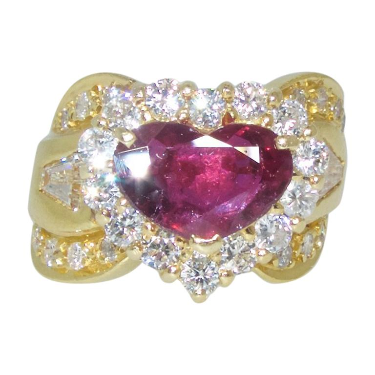 Fine Natural Ruby and Diamond Ring For Sale