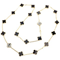 Van Cleef & Arpels Vintage Alhambra Twenty Motif Black Onyx Gold Necklace