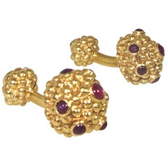Tiffany & Co. Ruby and Gold Cufflinks, circa 1960