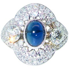 Edwardian Diamond and Sapphire Platinum Ring