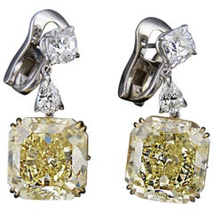 GIA Certified 12.36ct & 12.48ct Fancy Intense Yellow Diamond & Platinum Earrings