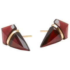 18 Karat Gold Garnet Stud Earrings