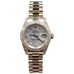 2013 Rolex Ladies President 18K Gold 179158 MOP Diamond Dial & Bezel Box Paper