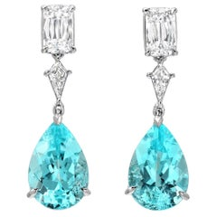 Paraiba Tourmaline Diamond Platinum Pear Shape Drop Earrings GIA Certified