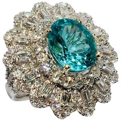 GIA Certified 5.02 Carat Paraiba Toumaline 4 Carat Diamonds 18 Karat Gold Ring