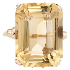 Vintage Citrine Cocktail Ring 9 Karat Gold Large Emerald Cut Statement Ring