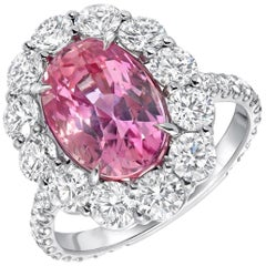 Pink Sapphire Diamond Platinum Ring GIA Certified Unheated 5.55 Carat Ceylon