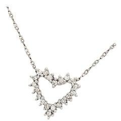 14 Karat White Gold Diamond Heart Pendant Necklace