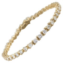 5.00 Carat Round Brilliant Diamond 14 Karat Yellow Gold Tennis Bracelet