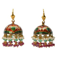 Emerald, Ruby, Pearl 22K Yellow Gold Indian Marriage Earrings w Enamel Accents