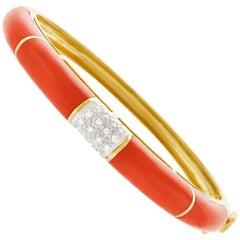 Coral and Diamond Bangle Bracelet