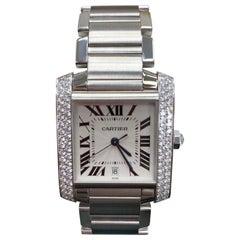 Cartier Tank Francaise 2366 Large Original Diamond Bezel 18 Karat White Gold