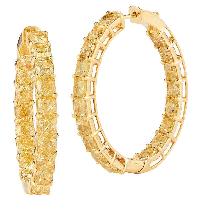 Magnificent Fancy Intense Yellow Diamond, Hoops Earrings